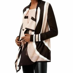 I-N-C Black Beige Colorblocked Open Cardigan Sz M